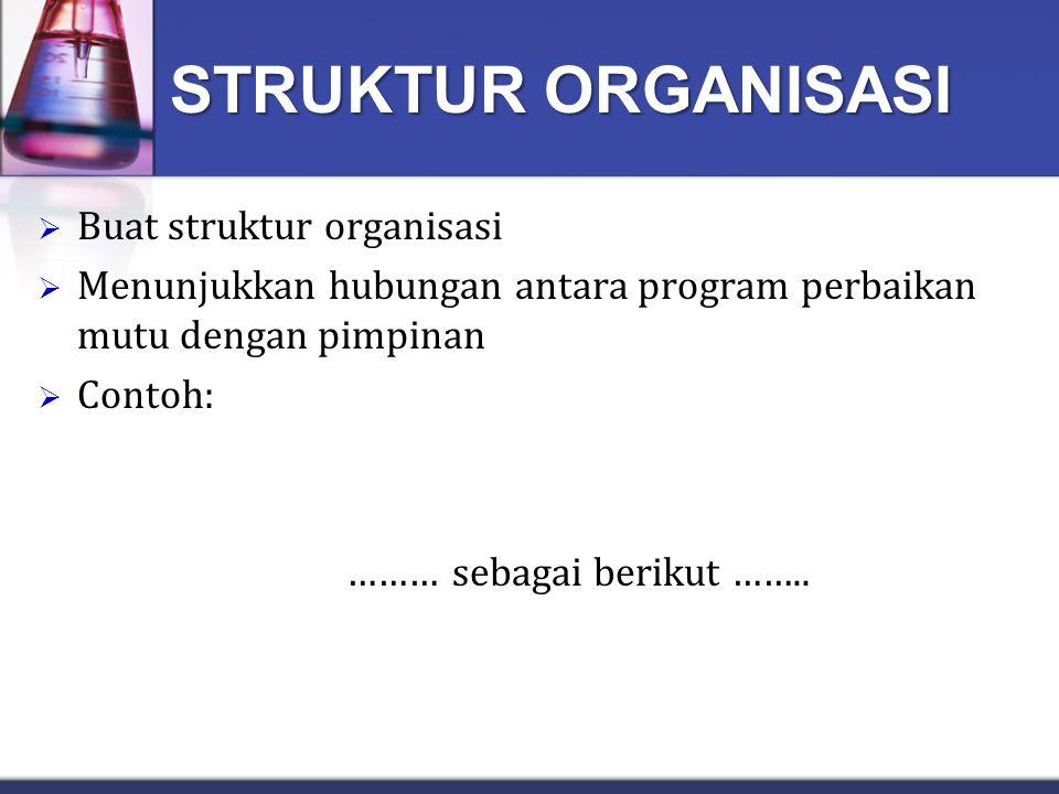 STRUKTUR ORGANISASI Buat struktur organisasi
