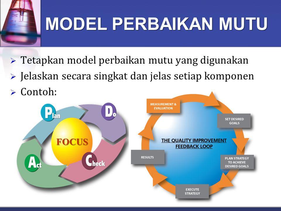 MODEL PERBAIKAN MUTU Tetapkan model perbaikan mutu yang digunakan