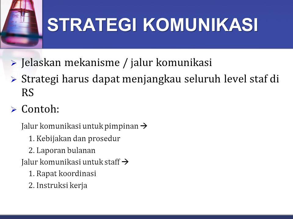 STRATEGI KOMUNIKASI Jelaskan mekanisme / jalur komunikasi