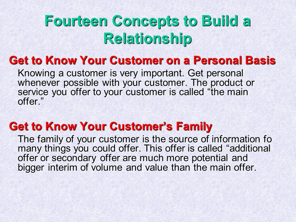 Fourteen Concepts to Build a Relationship