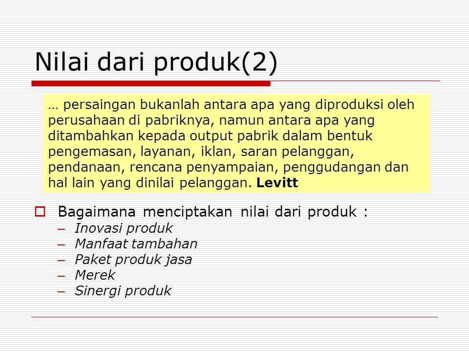 Nilai dari produk(2) Bagaimana menciptakan nilai dari produk :