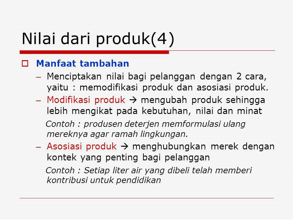Nilai dari produk(4 ) Manfaat tambahan