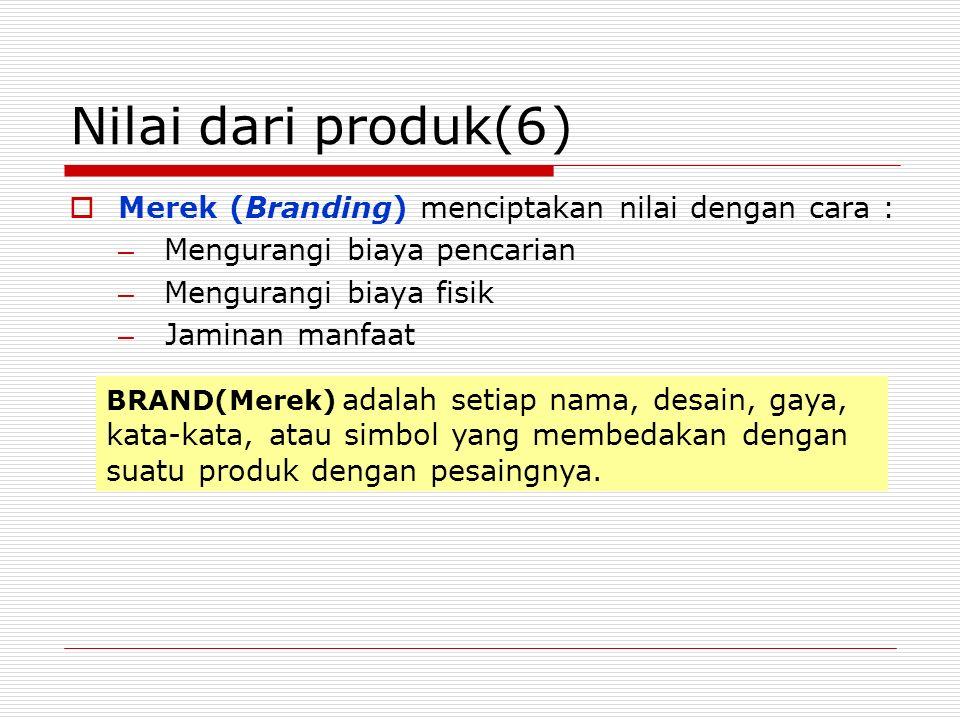 Nilai dari produk(6 ) Merek (Branding) menciptakan nilai dengan cara :