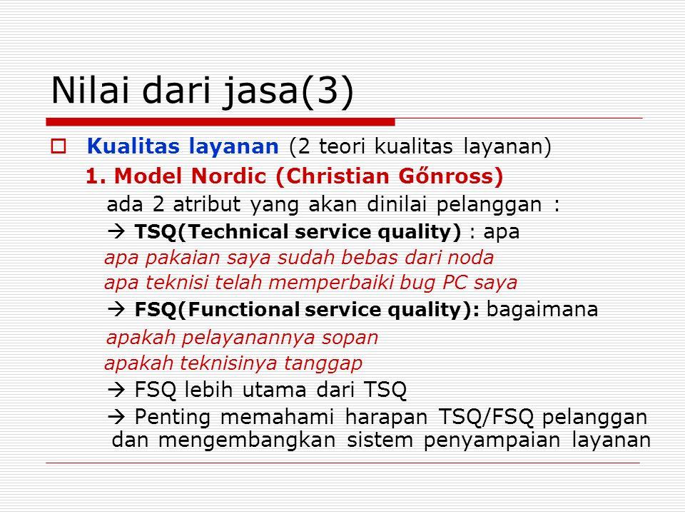 Nilai dari jasa(3) Kualitas layanan (2 teori kualitas layanan)