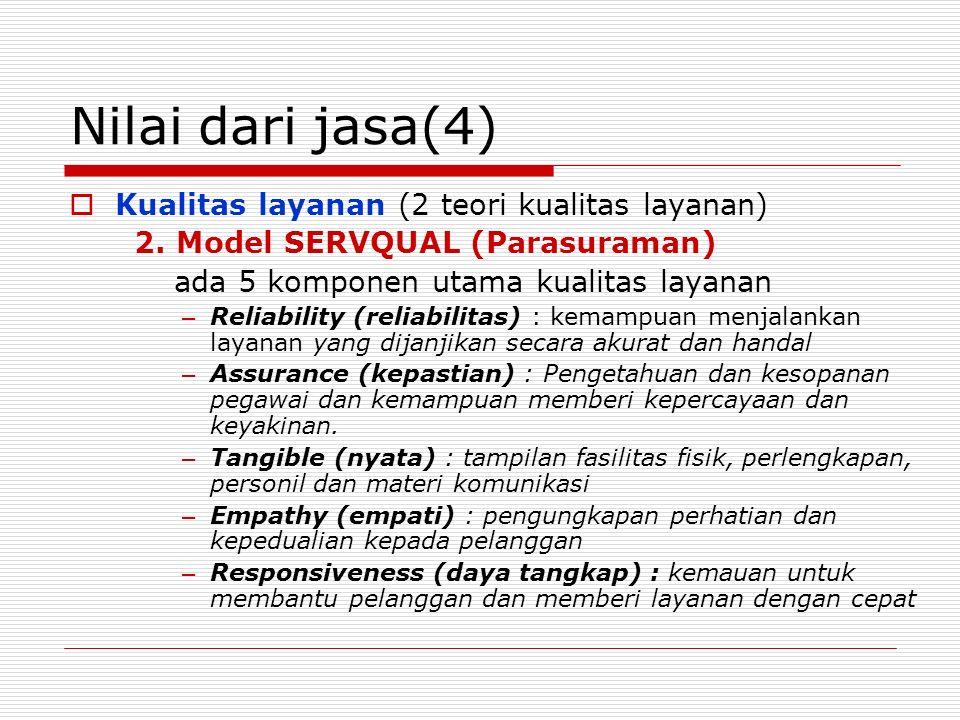 Nilai dari jasa(4) Kualitas layanan (2 teori kualitas layanan)
