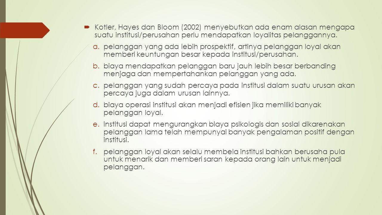 Kotler, Hayes dan Bloom (2002) menyebutkan ada enam alasan mengapa suatu institusi/perusahan perlu mendapatkan loyalitas pelanggannya.
