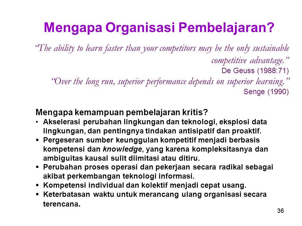 Mengapa Organisasi Pembelajaran