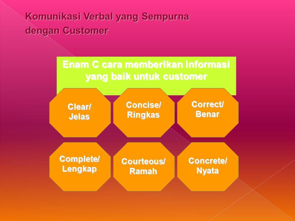 Enam C cara memberikan informasi yang baik untuk customer
