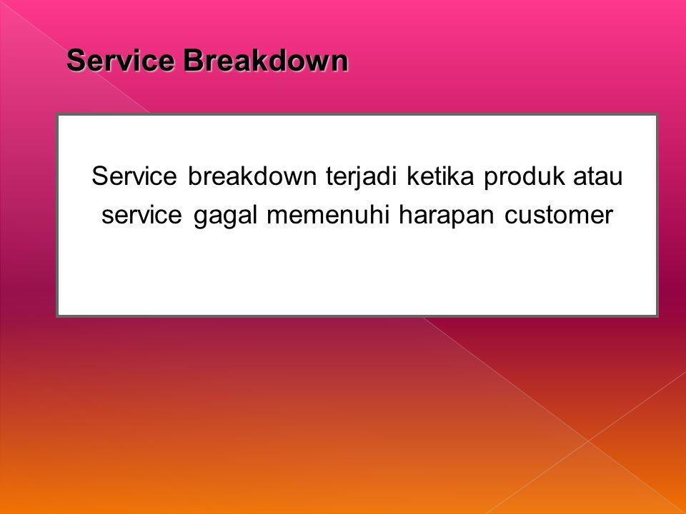 Service Breakdown Service breakdown terjadi ketika produk atau service gagal memenuhi harapan customer.