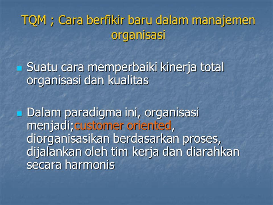 TQM ; Cara berfikir baru dalam manajemen organisasi