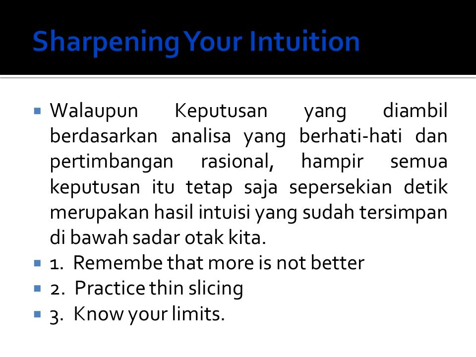 Sharpening Your Intuition