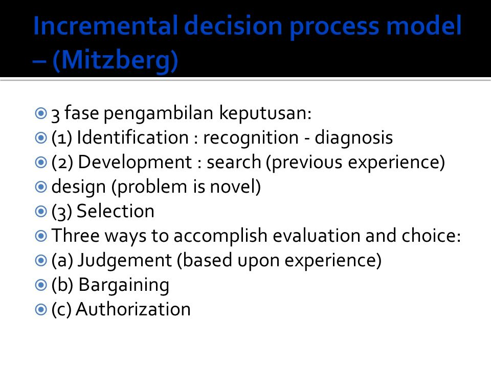 Incremental decision process model – (Mitzberg)