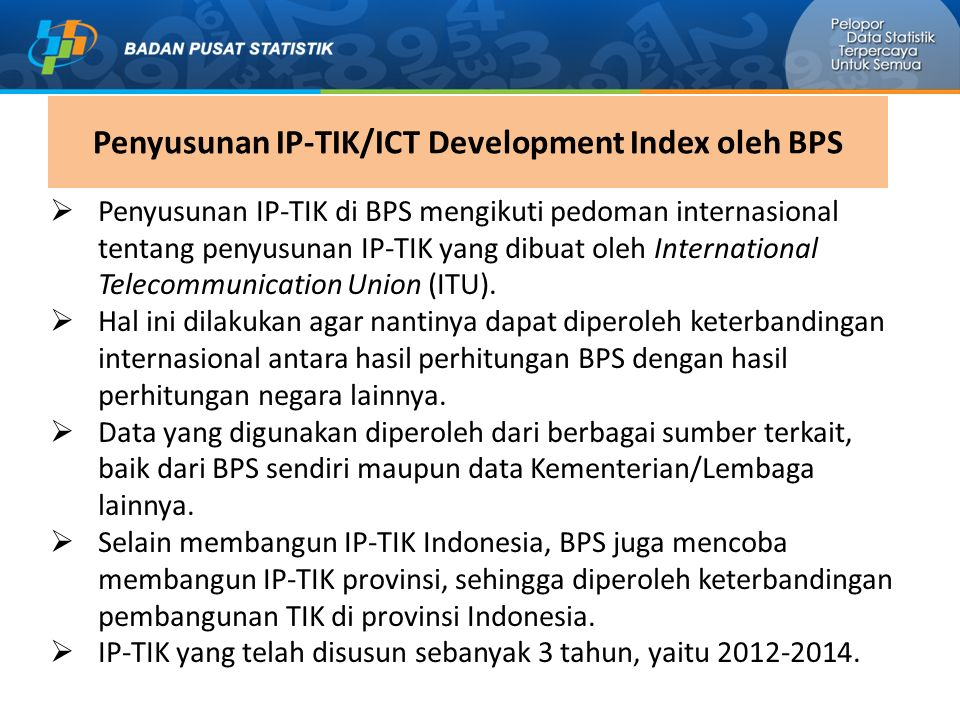 Penyusunan IP-TIK/ICT Development Index oleh BPS