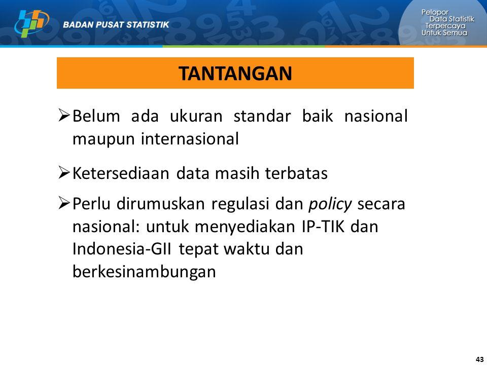 TANTANGAN Belum ada ukuran standar baik nasional maupun internasional