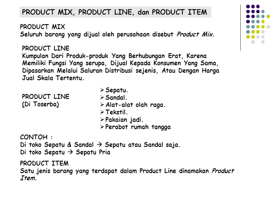 PRODUCT MIX, PRODUCT LINE, dan PRODUCT ITEM
