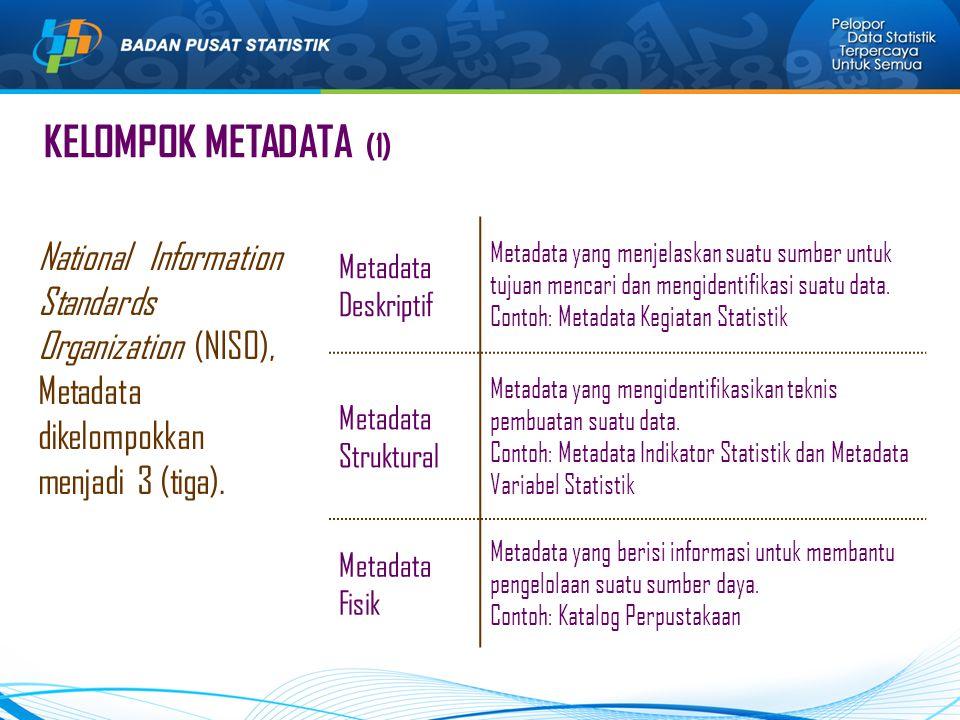 KELOMPOK METADATA (1) Metadata Deskriptif. Metadata yang menjelaskan suatu sumber untuk tujuan mencari dan mengidentifikasi suatu data.