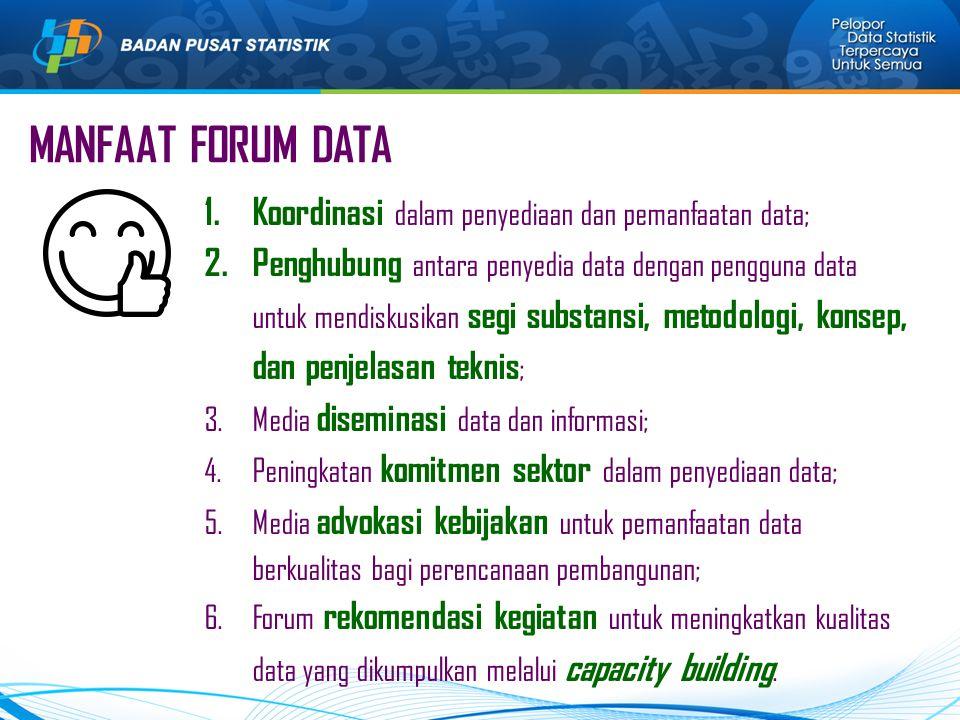 MANFAAT FORUM DATA Koordinasi dalam penyediaan dan pemanfaatan data;
