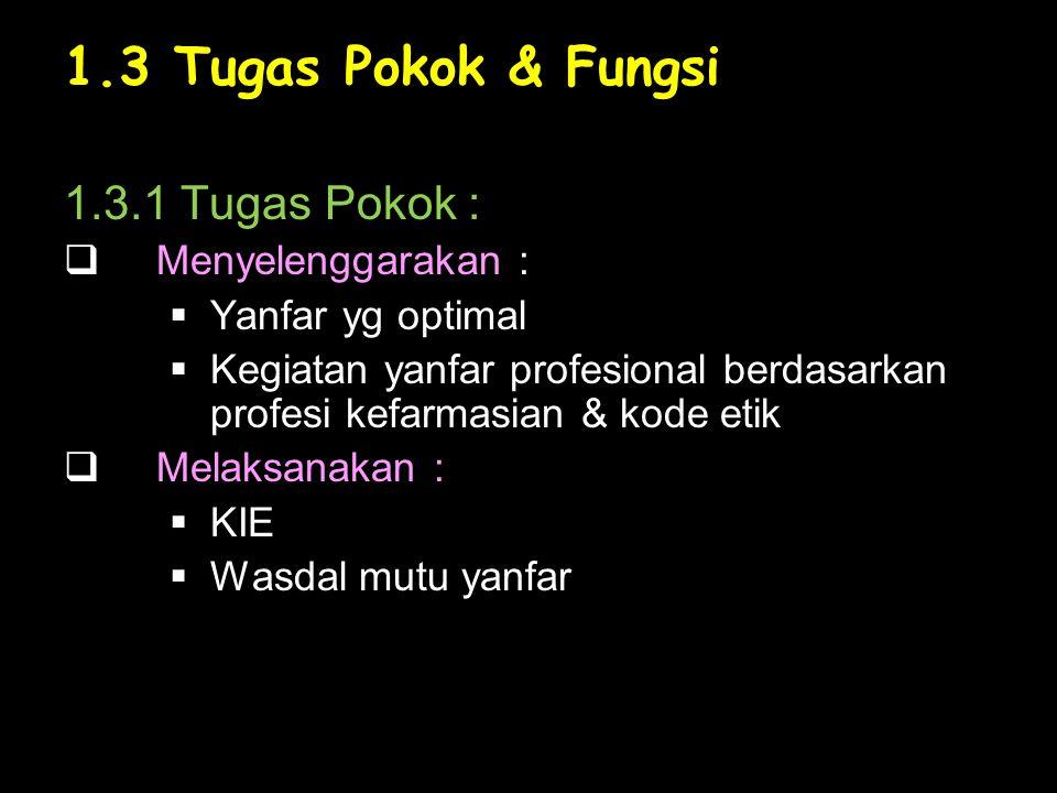 1.3 Tugas Pokok & Fungsi 1.3.1 Tugas Pokok : Menyelenggarakan :