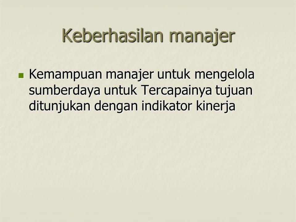 Keberhasilan manajer Kemampuan manajer untuk mengelola sumberdaya untuk Tercapainya tujuan ditunjukan dengan indikator kinerja.