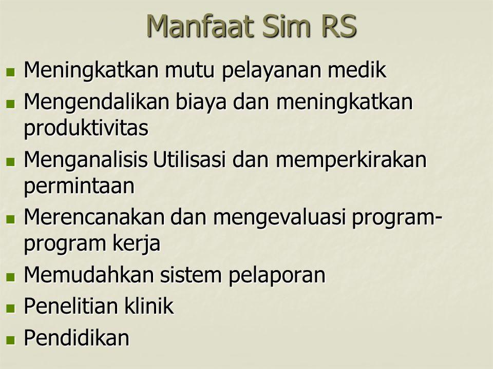 Manfaat Sim RS Meningkatkan mutu pelayanan medik