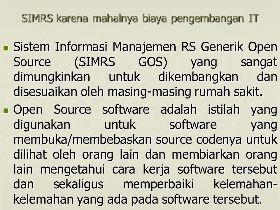 SIMRS karena mahalnya biaya pengembangan IT