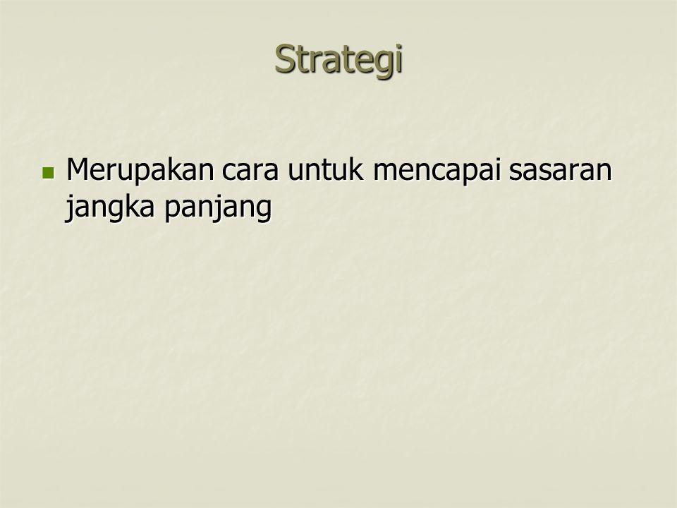 Strategi Merupakan cara untuk mencapai sasaran jangka panjang
