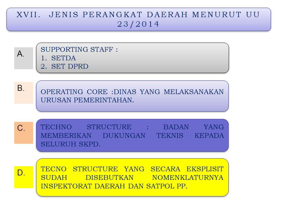 XVII. JENIS PERANGKAT DAERAH MENURUT UU 23/2014