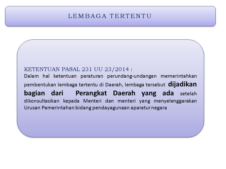 LEMBAGA TERTENTU KETENTUAN PASAL 231 UU 23/2014 :