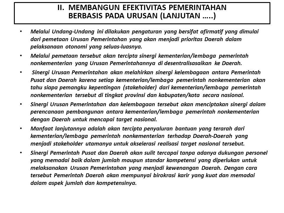II. MEMBANGUN EFEKTIVITAS PEMERINTAHAN BERBASIS PADA URUSAN (LANJUTAN …..)