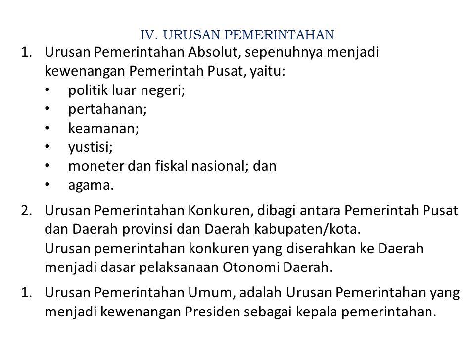 IV. URUSAN PEMERINTAHAN