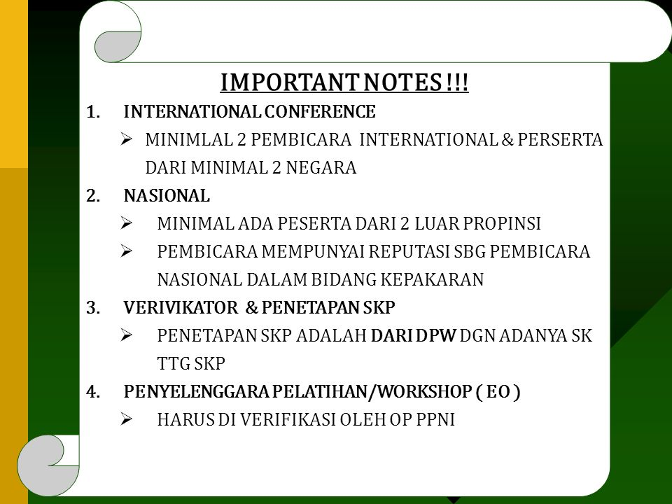 IMPORTANT NOTES !!! INTERNATIONAL CONFERENCE