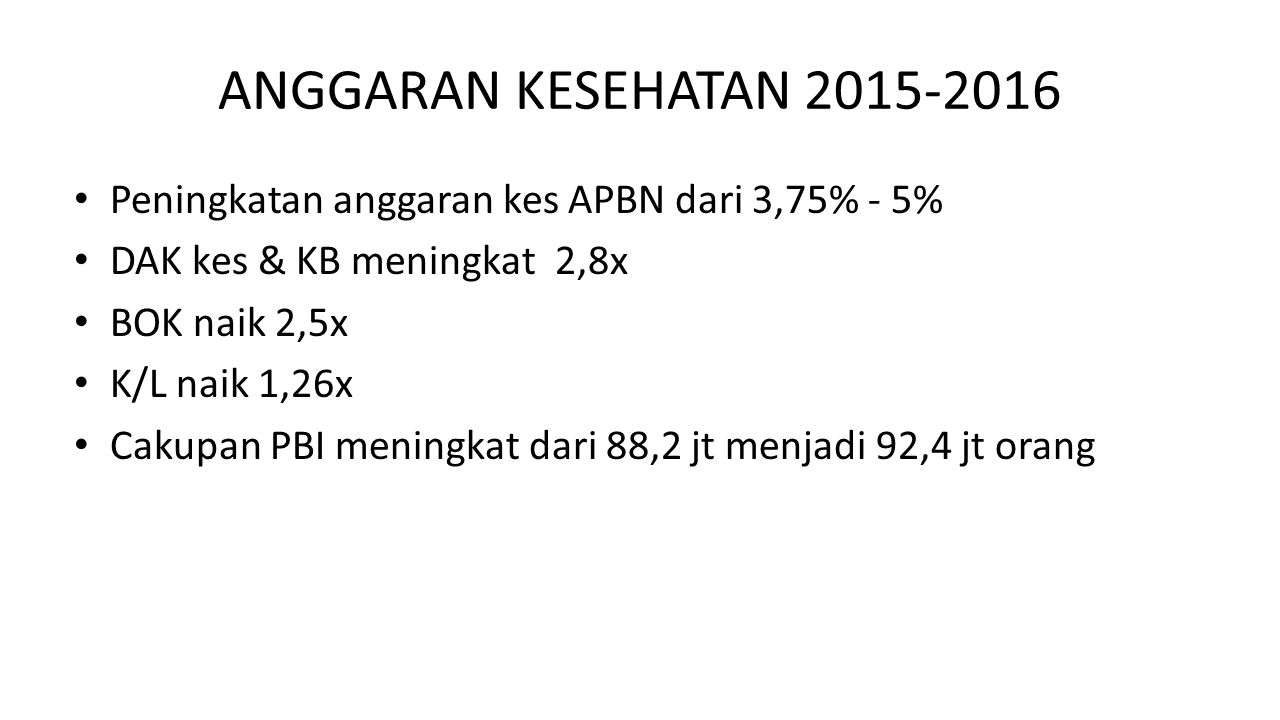ANGGARAN KESEHATAN 2015-2016 Peningkatan anggaran kes APBN dari 3,75% - 5% DAK kes & KB meningkat 2,8x.