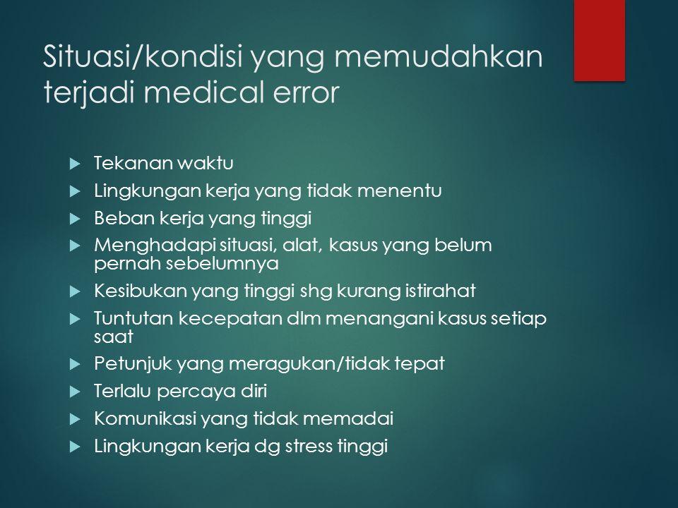 Situasi/kondisi yang memudahkan terjadi medical error