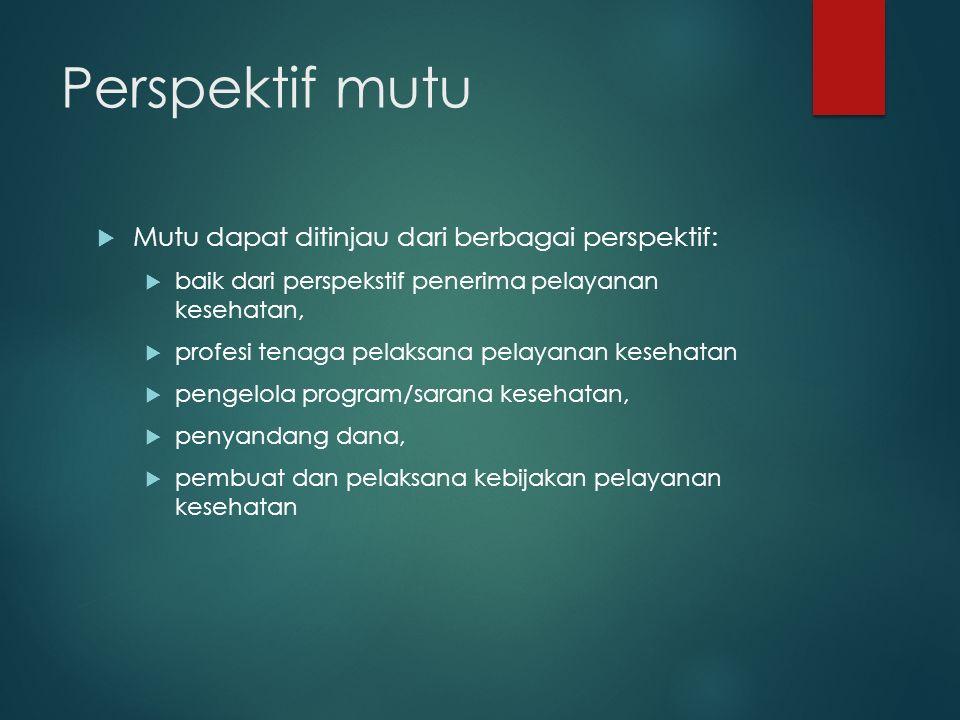 Perspektif mutu Mutu dapat ditinjau dari berbagai perspektif: