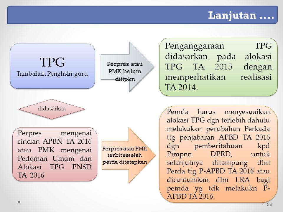 Lanjutan .... Penganggaraan TPG didasarkan pada alokasi TPG TA 2015 dengan memperhatikan realisasi TA 2014.