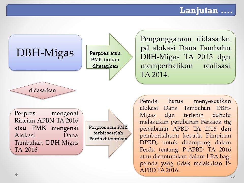 Lanjutan .... Penganggaraan didasarkn pd alokasi Dana Tambahn DBH-Migas TA 2015 dgn memperhatikan realisasi TA 2014.