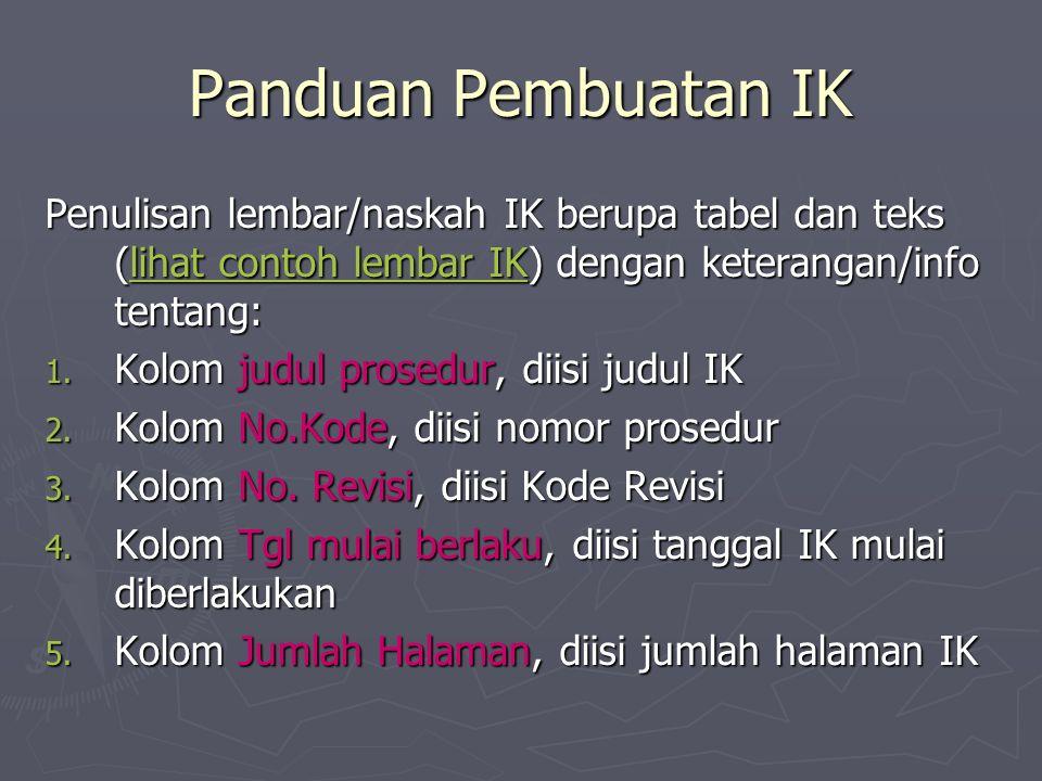 Panduan Pembuatan IK Penulisan lembar/naskah IK berupa tabel dan teks (lihat contoh lembar IK) dengan keterangan/info tentang:
