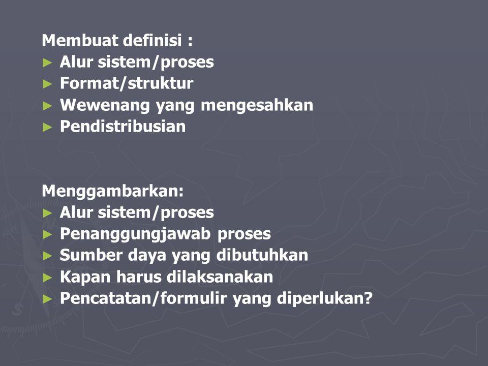 Membuat definisi : Alur sistem/proses. Format/struktur. Wewenang yang mengesahkan. Pendistribusian.