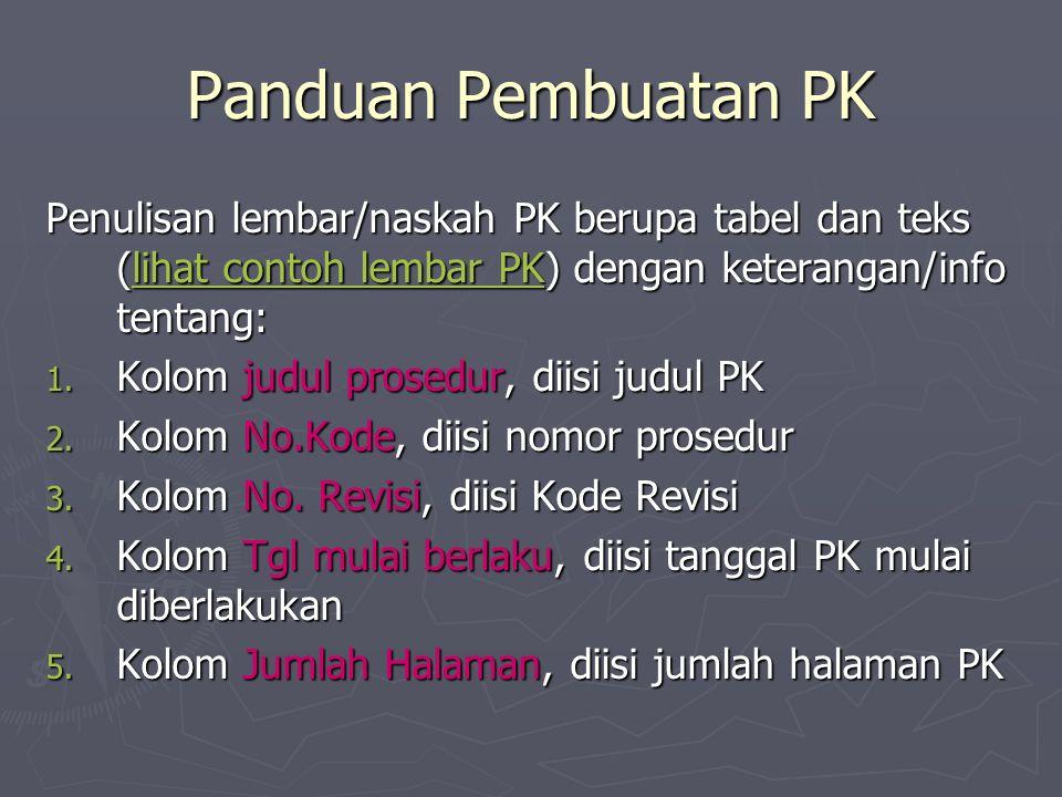 Panduan Pembuatan PK Penulisan lembar/naskah PK berupa tabel dan teks (lihat contoh lembar PK) dengan keterangan/info tentang: