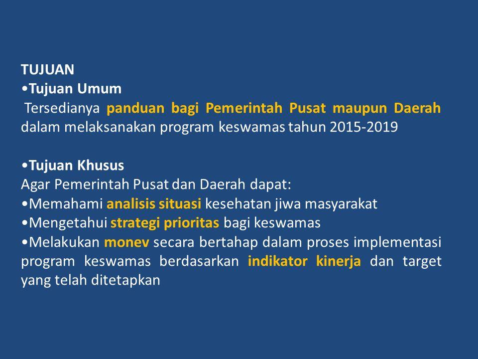 TUJUAN Tujuan Umum. Tersedianya panduan bagi Pemerintah Pusat maupun Daerah dalam melaksanakan program keswamas tahun 2015-2019.