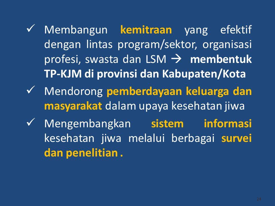 Membangun kemitraan yang efektif dengan lintas program/sektor, organisasi profesi, swasta dan LSM  membentuk TP-KJM di provinsi dan Kabupaten/Kota
