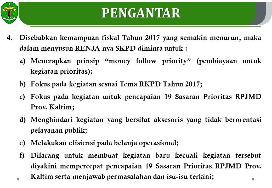 PENGANTAR Disebabkan kemampuan fiskal Tahun 2017 yang semakin menurun, maka dalam menyusun RENJA nya SKPD diminta untuk :