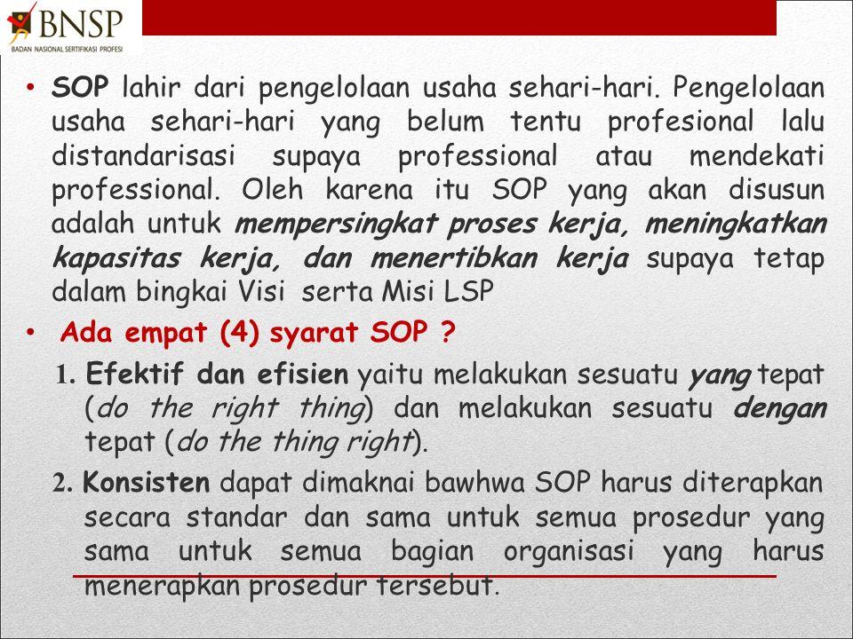 SOP lahir dari pengelolaan usaha sehari-hari