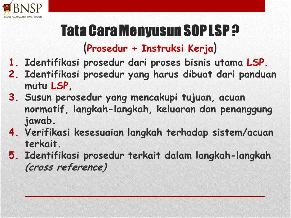 Tata Cara Menyusun SOP LSP (Prosedur + Instruksi Kerja)