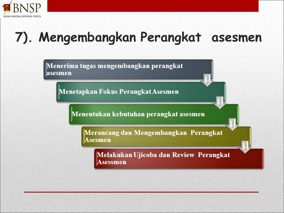 7). Mengembangkan Perangkat asesmen