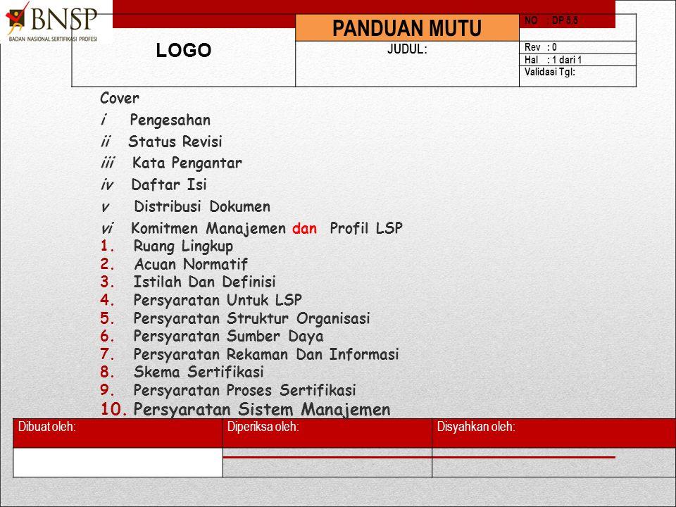 PANDUAN MUTU LOGO Persyaratan Sistem Manajemen Cover i Pengesahan