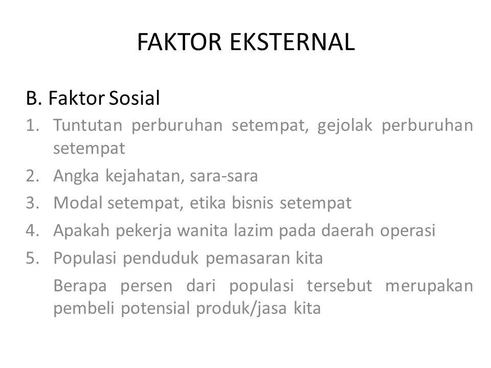 FAKTOR EKSTERNAL B. Faktor Sosial