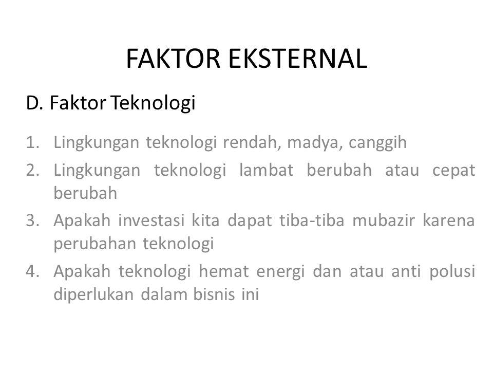FAKTOR EKSTERNAL D. Faktor Teknologi