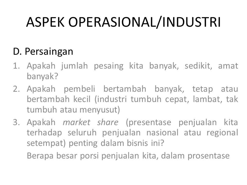 ASPEK OPERASIONAL/INDUSTRI