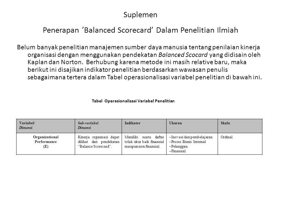 Suplemen Penerapan 'Balanced Scorecard' Dalam Penelitian Ilmiah